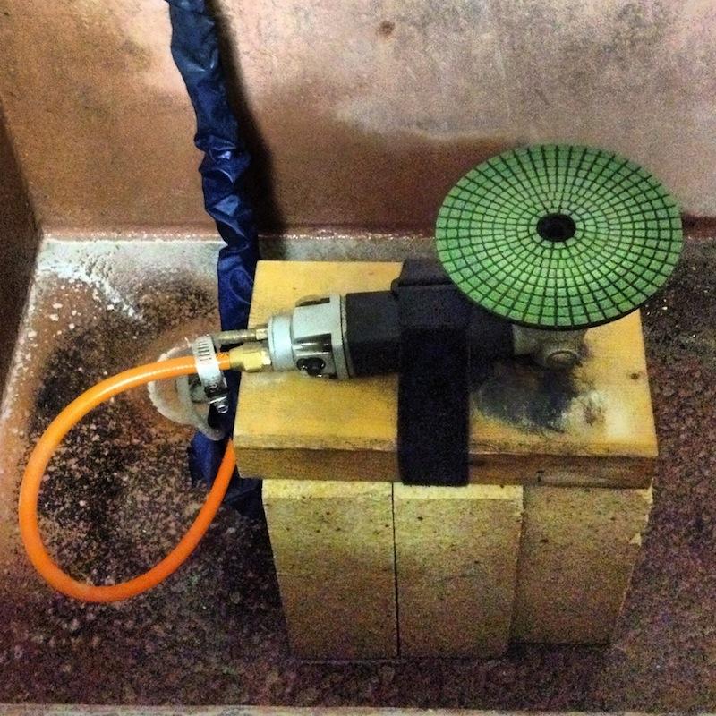 grinder in use